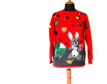 Vintage Red Wool  Easter Bunny Womens Sweater Medium Size