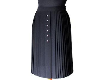 Black  Accordion Pleated Midi Skirt  Elastic waist Skirt Size M / L