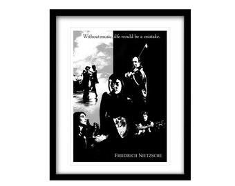 literary art print, FREE SHIPPING, literary poster, black and white art, literary quote, Friedrich Nietzsche, Black And White, Wall Art