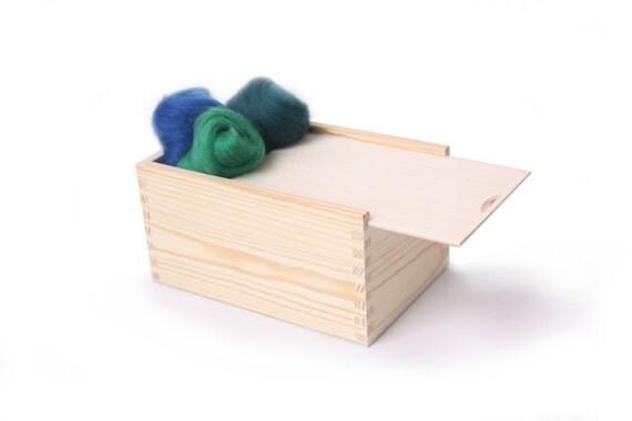 sliding lid medium wooden unfinished box, keepsake, Scandinavian style ...