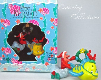 Enesco Disney Here Comes Santa Claws Ornament The Little Mermaid Sebastian Flounder Sleigh Christmas