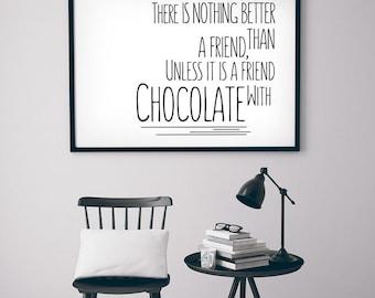 "Gift Ideas Print Typography Poster ""Chocolate..."" Wall Decor Inspirational Print Home Decor Gift. Yummy"