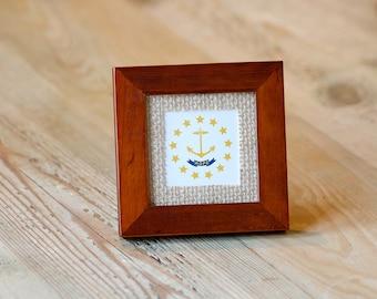 Little Rhody, Rhode Island State Flag, Mini~Frame, RI Gifts, RI Photos, Desktop Frame, Burlap, Traditional Decor, Teacher Gift, Hostess Gift