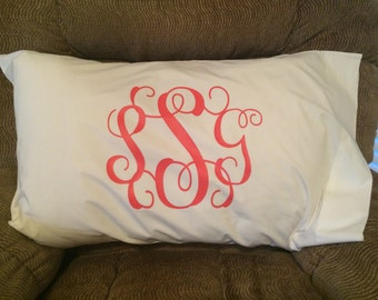 Personalized Vinyl Monogram Pillowcase