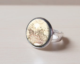 World map ring etsy map vintage map world map travel trip geography personalized customized gumiabroncs Image collections