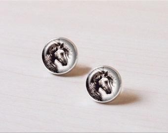 Wild horse, running horse, vintage silver earring stud, earring clip, wedding gift
