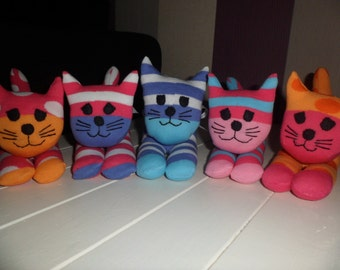 Colourful Sock Cat Toys - Made by Huggles