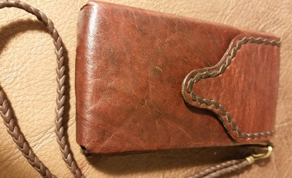 SMALL LEATHER PHONE Case. Belt Pouch or Wristlet. Brown Handstitched Real Leather. Lined inside. Velcro closure. Fits older phones.