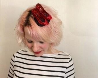 Mini Glitter Ruby Slippers Fascinator, Wizard of Oz Fascinator