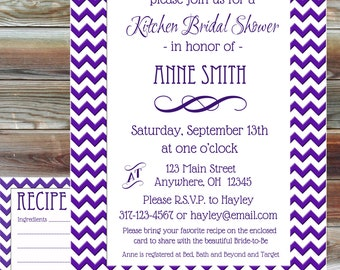 Printable Custom Color Chevron Kitchen Bridal Shower Invitation with Matching Recipe Card - Stock the Kitchen Bridal Invite - Chevron Bridal