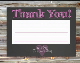 First Birthday Party Thank You Card for Girl - Chalkboard Girl Birthday Thank You Card - Heart Themed Chalkboard Birthday Thank You Card