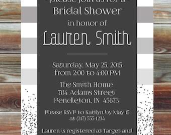 Glitter and Stripes Bridal Shower Invitation - Winter Modern Silver Bridal Shower Invitation - Personalized Custom Bridal Shower Invitation