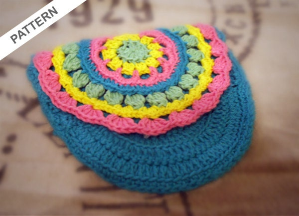 Small Bag Crochet Pattern : Small Colourful Purse Crochet Pattern by CrochetMonkie on Etsy