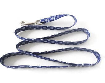Navy blue and white dog leash, navy blue leash, polka dot dog lead, blue and white leash, leash only