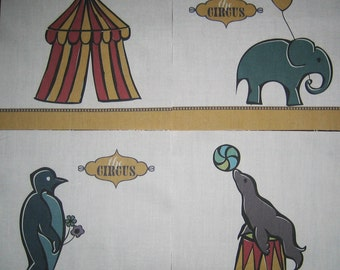 """CIRCUS Big Top Tent, Elephant Balloon, Seal Ball, Penquin Flowers - Your Choice of  6.5"""" Kids Fabric Quilt Block"""