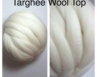 Targhee Wool Top Undyed / Targhee Roving Ecru / Natural Targhee Spinning / 2oz 4oz 8oz