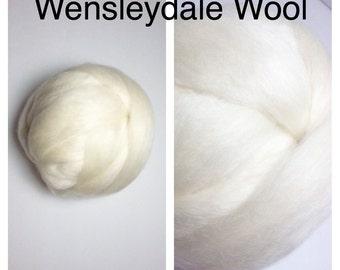 Wensleydale Wool Top Undyed / Wensleydale Roving Ecru / 2oz 4oz 8oz