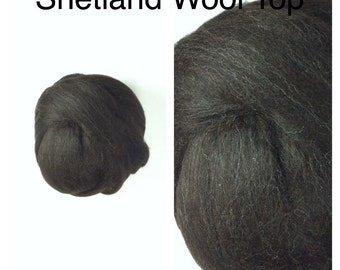 Brown Black Shetland Wool Top Undyed / Natural Black Brown Shetland Roving / 2oz 4oz 8oz