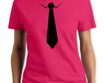 Tie Women T-Shirt. Hand Screen Printed Tee. Great Quality. Very Soft. Fashion Celebrity Costume Retro Disfraz Formal