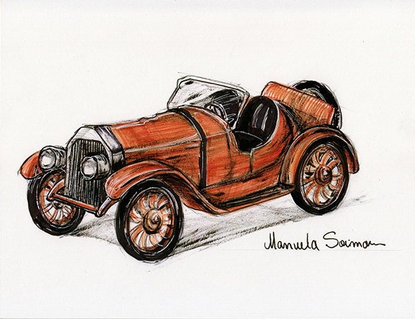 1920s Cars Drawing Gift Idea Vintage Car Drawing