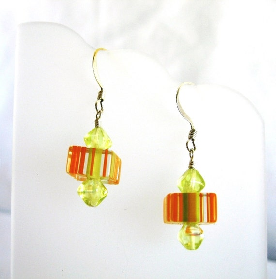 Mod Orange And Lime Green Striped Glass Cube Earrings