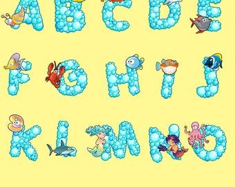 Alphabet Digital Clipart Fonts ABC Images Bubbles Sea Animals Clip Art Scrapbooking Invitations Printable Graphic INSTANT DOWNLOAD 300 dpi