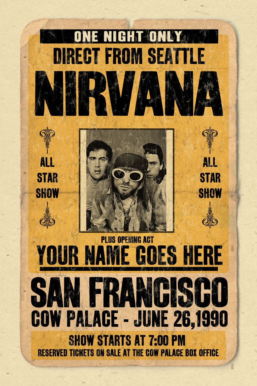 Your Name on a Nirvana concert poster 12x18