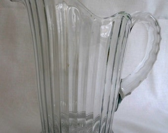 Vintage Clear Glass Pretty Water or Lemonade Pitcher, Scalloped Edge, Cut Glass Handle and Bottom