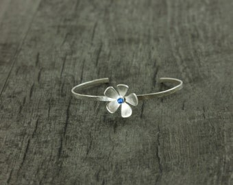 Mother's Day Gemstone Flower Cuff, Fine Silver Cuff, Single Flower Cuff