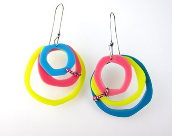 Plexiglas Earrings in Turquoise, Pink and Yellow Plexiglas and Silver Earrings with Pink Beads