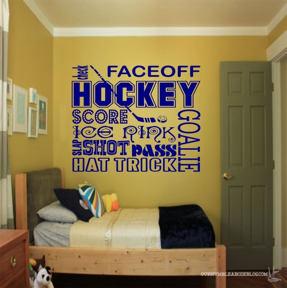 Hockey collage wall decal sports wall decals hockey wall for Sports decals for kids rooms