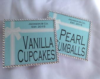 Tiffany amp co inspired candy buffet flat or tent cards tiffany and co