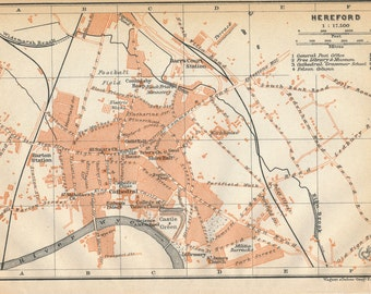 1910 Hereford United Kingdom (Great Britain) Antique map