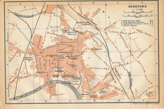 Hereford United Kingdom  City pictures : 1910 Hereford United Kingdom Great Britain Antique map by Figure10