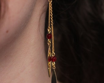 "Earrings ""Djax"" / / red Agate / / Tan Tao"