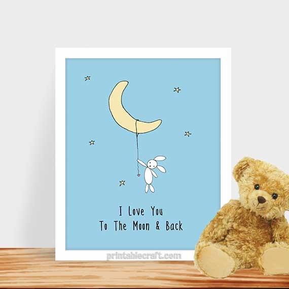 i love you to the moon & back bunny blue nursery print, Baby shower invitations