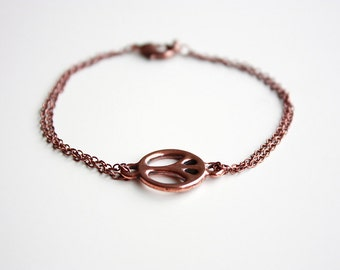 Peace Sign Copper Bracelet - Copper Chain