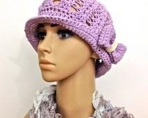 Lavender Summer Spring Hat Cotton Garden Hat Pastel Purple Hat Beach Cap Violet Cloche Hat Handmade Crochet Hat Bow Women Adult Brimmed Hat