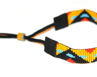 Sayulita Bracelet [SALE] | turquoise, red, mustard, black, suede beadwoven bracelet with adjustable african trade bead clasp