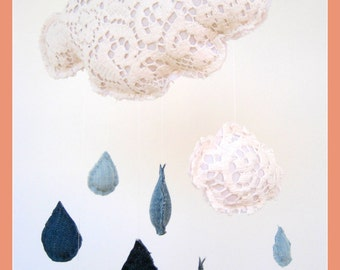 Baby mobile bedroom decor sustainable repurposed upcycled lace denim rain cloud