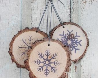 Snowflake Wood Ornament Set (3)