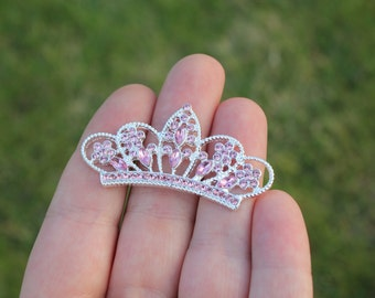 Flatback Light Pink Rhinestone Tiara Crown Embellishment- 30mm - Set of 3
