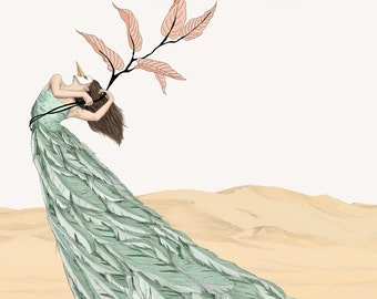 Pastel Dancer With Leafs & Feathers - Art Print/ Wall Décor / Wall Art