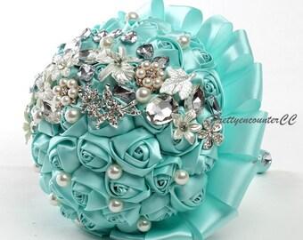Sky Blue Wedding Bouquet Handmade Flowers with Rhinestones Satin Silk Ribbons Pearls Jewels Bridal Bouquet BridesmaidBouquet Wedding Flowers