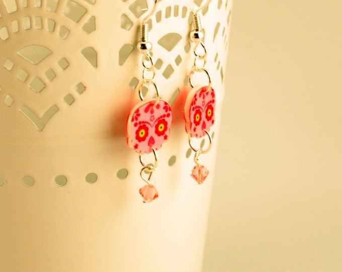 Calavera Earrings - Sugar Skull Earrings - Pink Earrings - Day of the Dead - Dia De Los Muertos - Flowers - Crystal - Costume Jewelry -