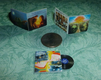 THE M B'S #2, Set of Three Albums with Plastic Records, Dollhouse Miniature Record Albums