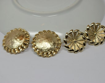 Vintage Coro Earrings Jewelry Lot of 2 Coro Jewelry Signed Clip Earrings Goldtone Round Textured Starburst Designs Vintage Jewelry
