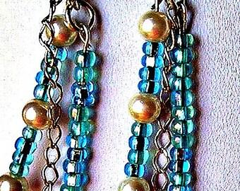 Ocean Blue and Pearl Earrings