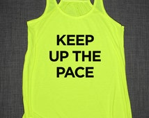 Fitness Running Tank Top - Keep Up The Pace Gym Jogging Girly Womens Racer Back