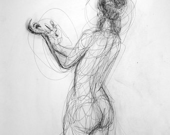 Large expressive contemporary female figurative charcoal and ink drawing